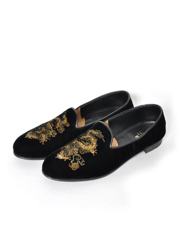 画像1: Sasquatchfabrix.  [サスクワッチファブリックス] ORIENTAL DRESS SLIPON [BLACK LEATHER SOLES]  (1)