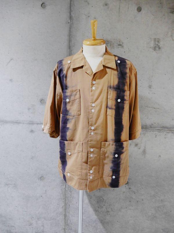 画像1: Black Weirdos [ブラック ウィドゥ] TieDye Cuba Shirt  [BROWN] (1)
