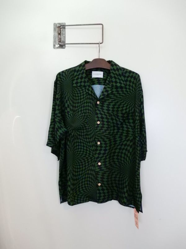 画像1: Black Weirdos [ブラック ウィドゥ] Checker Aloha Shirt [GREEN] (1)